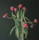 Red Tulips, acrylic, by Kata Ogard