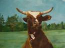 Close-up of Sitting Cow, acrylic by Kata Ogard