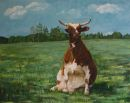 Sitting Cow, acrylic by Kata Ogard